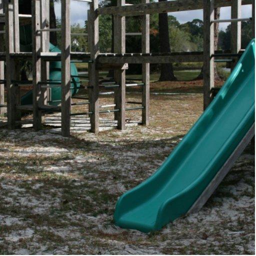 Diapositiva verde del patio, gimnasio de madera de escultura fotográfica