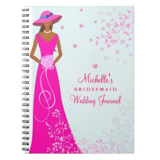 Diario afroamericano del boda de la dama de honor libreta espiral