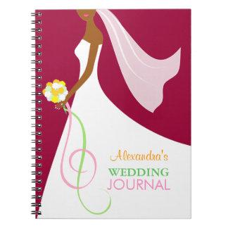 Diario afroamericano del boda de la novia de moda libreta espiral
