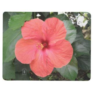 Diario anaranjado hermoso de la flor del hibisco cuaderno grapado