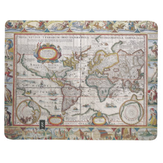 Diario antiguo del personalizado del mapa del mund cuaderno grapado