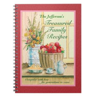 Diario atesorado de las recetas de la familia libro de apuntes