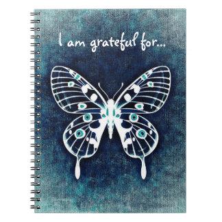 Diario azul de la gratitud de la mariposa spiral notebook