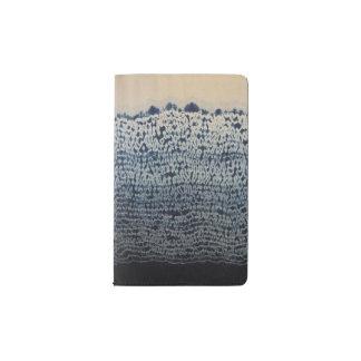 Diario azul de la piel de topo del batik funda para libreta y libreta pequeña moleskine