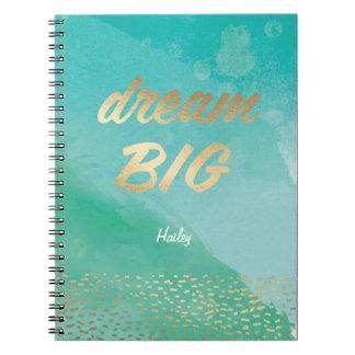 Diario azul GRANDE ideal de la acuarela el   Note Book
