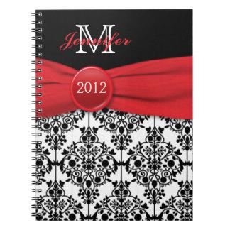 Diario blanco negro rojo personalizado del damasco spiral notebooks