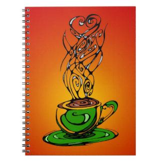 Diario caliente del té libreta