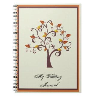 Diario caprichoso del boda del árbol de la caída libros de apuntes