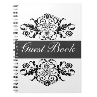 Diario clásico artístico de moda blanco negro del cuaderno
