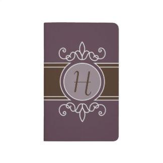 Diario clásico del bolsillo del monograma de la co cuadernos grapados