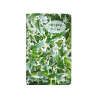 Diario claveteado del bolsillo de las hojas - verd cuaderno grapado