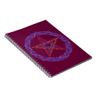 Diario colorido del Pagan de Wiccan del pentáculo Libro De Apuntes