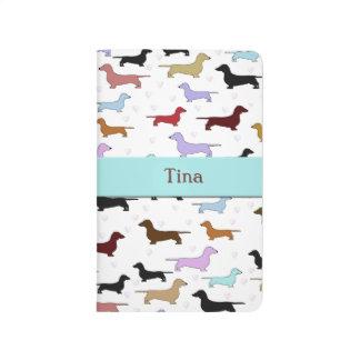 Diario colorido del perro del Dachshund Cuadernos Grapados