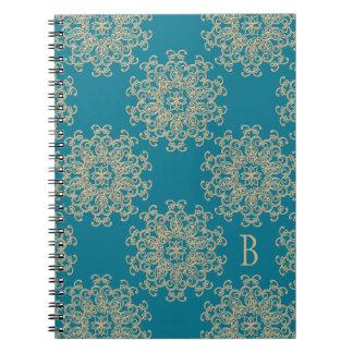 Diario con monograma del cuaderno del añil y del o