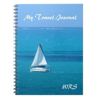 Diario con monograma del viaje de la navegación spiral notebooks