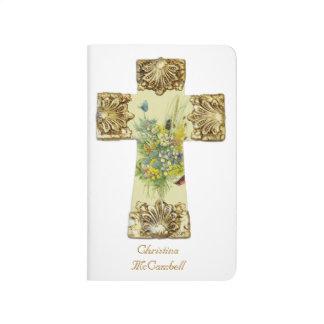 Diario cruzado floral hermoso cuaderno grapado