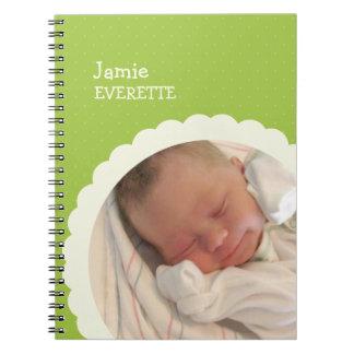 Diario de encargo de la foto del punto del bebé de spiral notebook