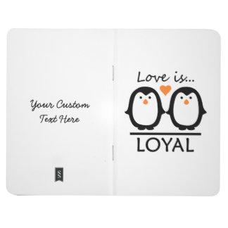 Diario de encargo del bolsillo del amor del pingüi cuadernos grapados