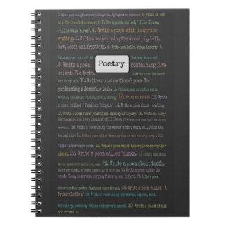 Diario de la búsqueda de objetos de la poesía libro de apuntes con espiral
