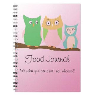 Diario de la comida de la familia del búho libro de apuntes con espiral