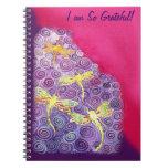 Diario de la gratitud: Imagen de seda de la libélu Libros De Apuntes Con Espiral
