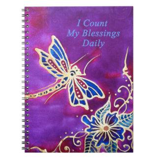 Diario de la gratitud: Pintura de seda de la libél Cuaderno