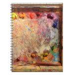 Diario de la paleta del artista de la pintura del  libro de apuntes con espiral