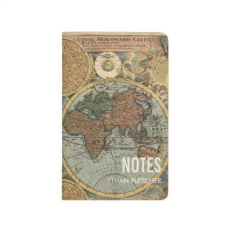 Diario de nota personalizado mapa del mundo del cuaderno