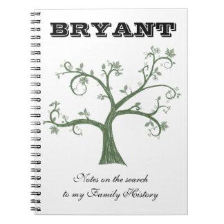 Diario de notas de la búsqueda de la genealogía libros de apuntes con espiral
