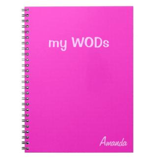 Diario de WOD - rosa fuerte Libretas Espirales
