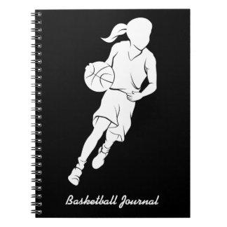 Diario del baloncesto de la chica joven libros de apuntes