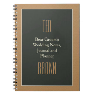 Diario del boda de Brown del novio enmarcado con Spiral Notebooks