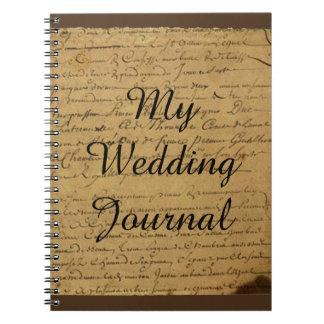 Diario del boda de la letra de amor de la flor de cuadernos