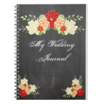 Diario del boda de la pizarra de la flor de la nar cuadernos
