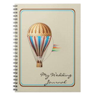Diario del boda del globo del aire caliente del libro de apuntes con espiral