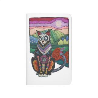 Diario del bolsillo de Dia de los Muertos Cat Cuaderno Grapado