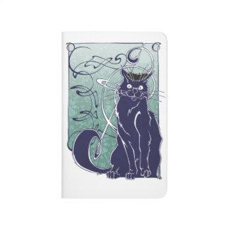 Diario del bolsillo del gato de Nouveau del arte Cuaderno Grapado