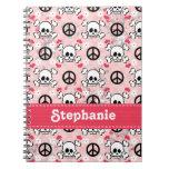 Diario del cráneo rosado y del cuaderno espiral de