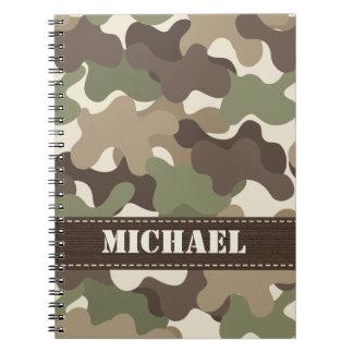 Diario del cuaderno espiral de Camo del camuflaje