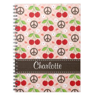 Diario del cuaderno espiral de la cereza del amor