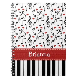 Diario del cuaderno espiral de la nota de la músic
