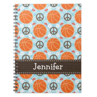 Diario del cuaderno espiral del baloncesto del amo