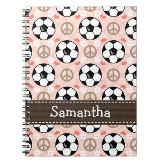 Diario del cuaderno espiral del fútbol del amor de