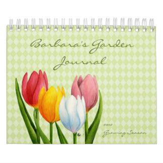 Diario del jardín de los tulipanes de la primavera calendario de pared