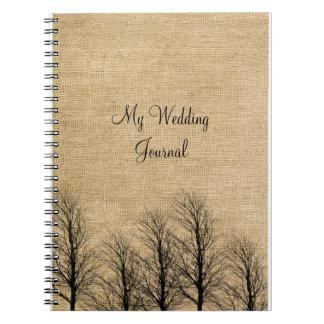 Diario elegante del boda de la arpillera y del libretas espirales