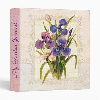 """Diario elegante del jardín del iris del vintage de carpeta 1"""""""