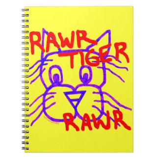 Diario en blanco divertido del TIGRE RAWR del gato Libros De Apuntes