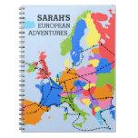 Diario europeo personalizado colorido del viaje de