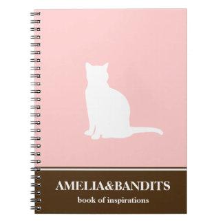 Diario felino de la inspiración del rosa de la sil libros de apuntes con espiral