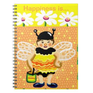 diario feliz de la felicidad de la abeja libreta